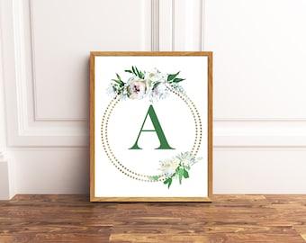 Monogram Printable Art - Letter A - Nursery Decor - Initial Wall Art - Wedding Sign - Floral Wreath - Kids Wall Art - Girl Art