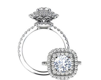 Unique Tripple Halo Diamond Engagement Ring Setting with 1ct Forever One Moissanite Center Stone in 14k White Gold