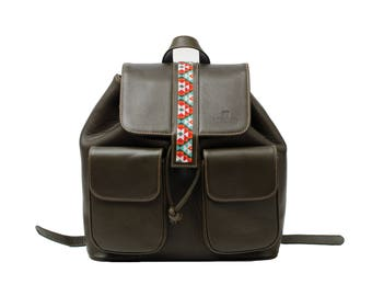 Embroiderd Leather BackPack Olive Green - Wixárika Mexican Art