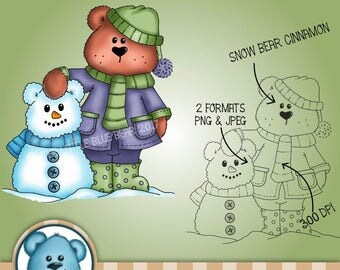 INSTANT DOWNLOAD - Digital Digi Stamp - Snowbear Cinnamon