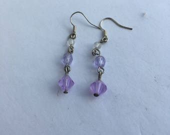 Lilac and clear crystal bead drop earrings