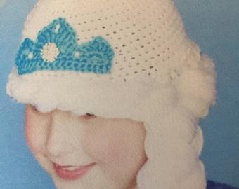 handmade crochet Popular Frozen Elsa hat, frozen elsa hat, with braids, character elsa hat, photo prop hat
