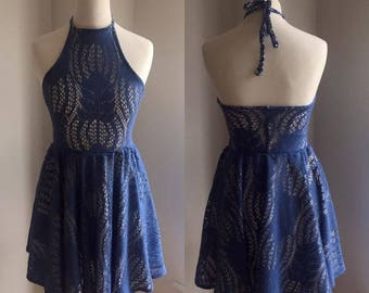 Blue crochet lace halter dress