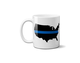 Thin Blue Line United States Coffee Mug , Police Officer Gift, Law Enforcement, Coffee Mug, United States Map
