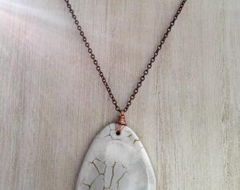 White Agate copper necklace