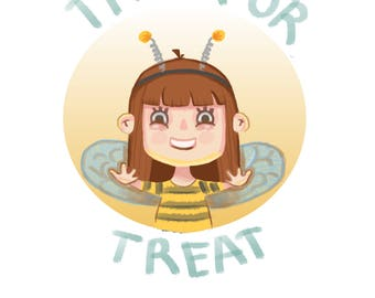 Halloween bee card Trick or treat