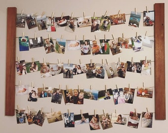 HUGE clothespin photo display / picture hanger - clothesline - rustic -  large - wedding display