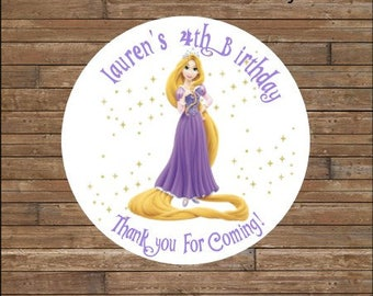 Personalized Rapunzel Stickers       Rapunzel Favor Tags     Tangled Birthday     Tangled Party