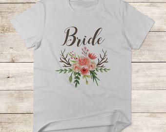 Bride T-Shirt, Women's TShirt, Floral Bride T-Shirt, Bridal Shower Gift, Bachelorette Party, Engaged TShirt, Bride to Be Shirt,