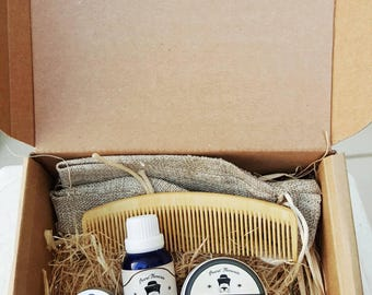 Beard Grooming Kit / Sandalwood and Cedarwood / Overall Beard Care/ Organic/ Greek/gift set/mens' care