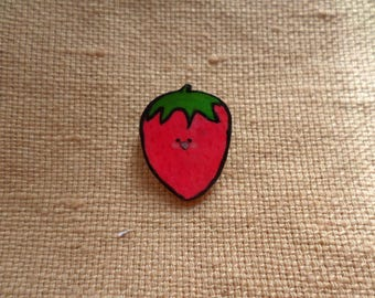 Cute Strawberry Pin, Tiny Strawberry, Strawberry Jewelry, Kawaii Strawberry, Food jewelry, Sweets Jewelry, Fruit Jewelry, Kawaii Fruit