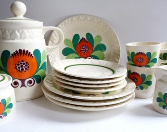 Heike GDR Ceramic Set for 4 Coffee Tea Service East Germany Folk Mid Century Vintage 1970's