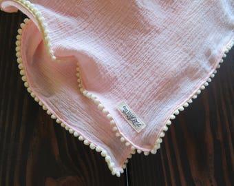 Blush Pink Gauze Swaddle Blanket with Creme Mini Pom Pom Trim