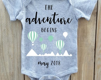 The Adventure Begins onesie, Hot Air Balloon onesie, Pregnancy Announcement onesie, Pregnancy Reveal, Baby Announcement, Greatest adventure