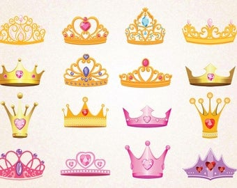 16 x Princess Crowns Clipart/Pink Crowns/Gold Crowns/Princess Crowns SVG.PNG 300 ppi,eps/Princess Printables/Digital