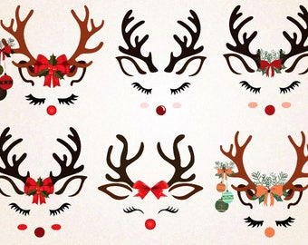 Reindeer Face Clipart/Reindeer Face with Christmas decorations/Rudolph / SVG.PNG 300 ppi,eps/Christmas Clipart/Cute Reindeer Printable