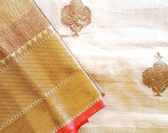 Natural Beige Kota Silk Saree