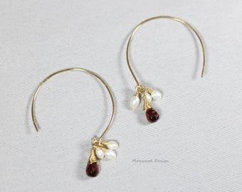 Garnet & Real pearl Hoop earrings-January Birthstone Jewelry-Gemstone earrings-Red stone Circle earrings-Drop earrings-Petite drop earrings