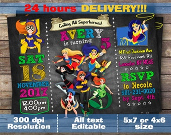 Dc Superhero Girls Invitation Dc Super hero girls birthday invitation dc party invite Supergirl Wonder Woman Batgirl Harley Quinn invitation