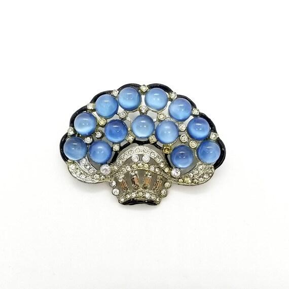1930s Art Deco Moonglow Stylized Flower Basket Pin