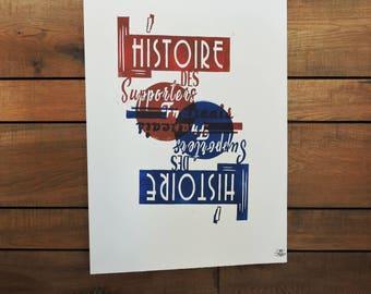 """Linocut print """"Fans of the Tour de France"""""""