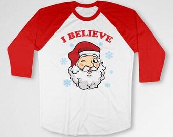 Funny Christmas Gifts For Holidays T Shirt Santa Shirt Xmas TShirt Christmas Outfit Santa Claus 3/4 Sleeve Baseball Raglan Sleeves TEP-510
