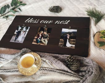 Bless Our Nest Sign//Wood Sign//Picture on Wood//Picture Holder//Christmas Gifts//Gifts for women//Custom Wood Signs