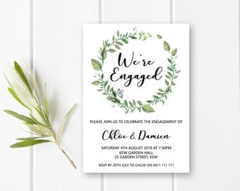 Garden engagement invitations printable engagement party invitation, greenery engagement invites, green wreath we're engaged invite W05