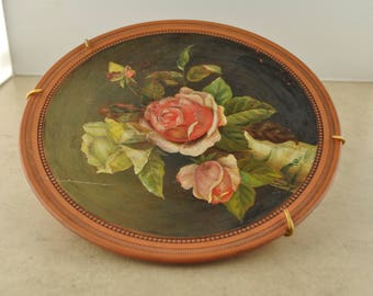 Vintage Hand Painted Pink Rose Red Clay Ceramic Plate