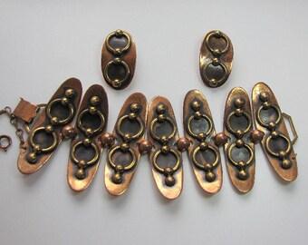 Vintage Copper Link Bracelet and Earrings Set