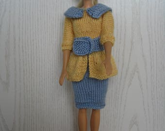 Dress for Barbie with belt and hat knitted handmade, Barbie clothing