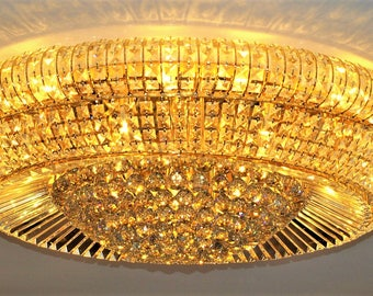 Crystal ceiling lamp, chandelier, crystal chandelier, ceiling light, gold, exclusive, lamp