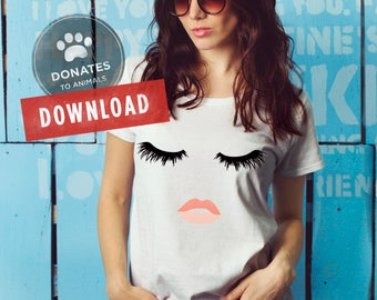 Eyelashes Girl SVG | Lips Lashes SVG Eyelashes Lips SVG | Fashion Face Cut File Trendy Makeup Shirt Clipart Dxf Files for Cricut Silhouette
