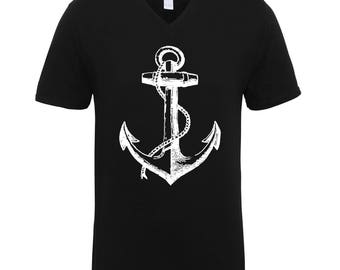Anchor Adult Unisex T-Shirts Men Size V Neck Tee Shirts for Men and Women