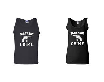 Valentine Gifts Partners in Crime COUPLE Printed Adult Tank Tops Unisex  Tops for Men Women Best Seller Matching Clothes