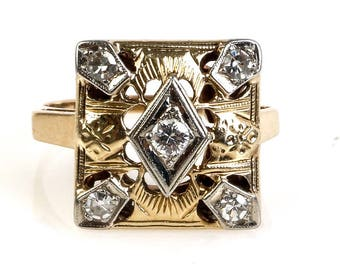 Art Deco 14K Two-Tone Gold and Diamond Square Top Ring