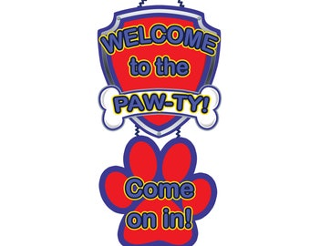 Paw Patrol Door Sign, Printable Paw Patrol Welcome sign, Paw Patrol Birthday Party, Instant Download