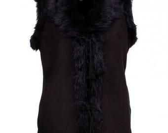 New LEATHER vest shearling coat for women black fur winter jacket sheepskin vest warm women vest sleeveless vest christmas gift for her