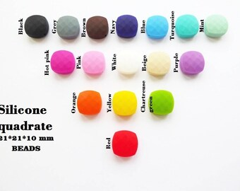 Silicone quadrate beads 21mm*21mm*10mm / DIY teething necklace / Silicone beads / Silicone teething beads / Bite beads / Chew beads chewable