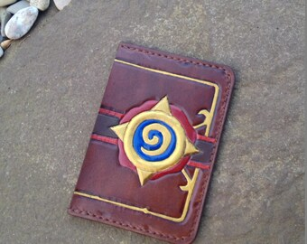 Hearthstone Leather Handmade Sleeve Wallet, Gift For Gamer, Geeky Leather Perfect Birthday Gift