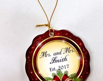Personalized 1st Christmas as Mrs. & Mrs. Ornament