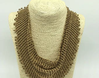 Hand Made Crystal And Seed Bead Necklace