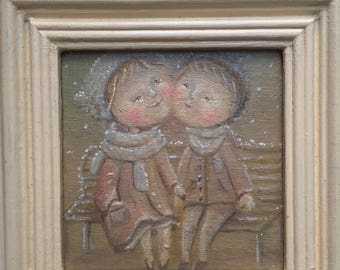 Boy and girl are siting under snow is falling, winter,love, painted with oil by ukrainian artist! high quality,minimalism 15x15 cm