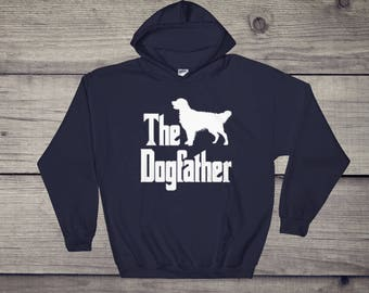 The Dogfather hooded sweatshirt, Golden Retriever silhouette, funny dog gift hoodie, The Godfather parody, dog lover sweater, dog gift