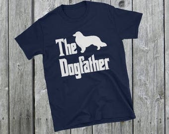 The Dogfather t-shirt, Collie silhouette, funny dog gift, The Godfather parody, dog lover shirt, dog gift, Short-Sleeve Unisex T-Shirt