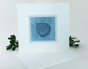 Aspen leaf on aqua embossed blank card, individually handmade, not a reproduction: square, notecards, blank note card, SKU BLSQ1004