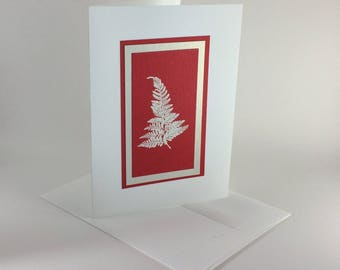 White fern on red embossed Christmas card, individually handmade: A7, peace on earth, holiday card, winter card, peace, SKU PEA71006