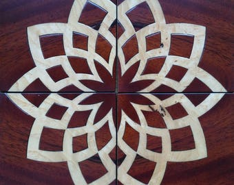 Marquetry in mahogany Palm root of Fresno coasters