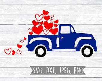 Valentines Svg, Truck Svg, Boy Valentine Svg, Truck with Falling hearts, Svg files for, Silhouette, Cricut, Vintage Truck, Valentine clipart