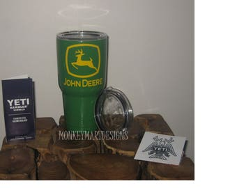JOHN DEERE 30oz Yeti Rambler Choose size and color,Personalized Yeti tumbler cup Green farm Tractors